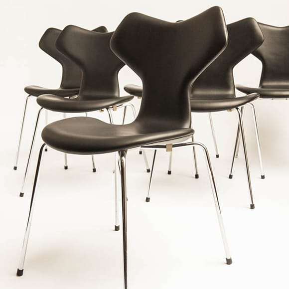 Grand Prix Chair, Model 3130, Black leather, Set of 6