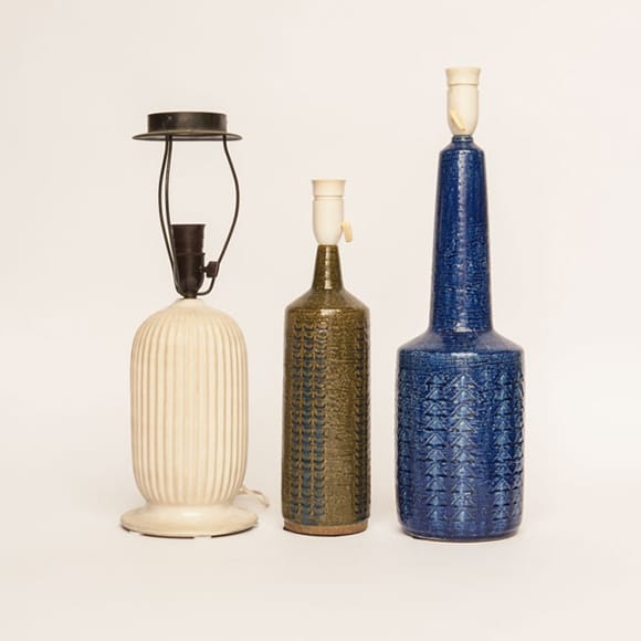 Three stoneware table lamps